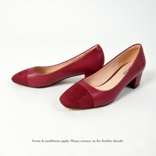 Square Toe | Leather Shoes  | Formal Loafer | Office Lady Pumps | Red | RS6868B