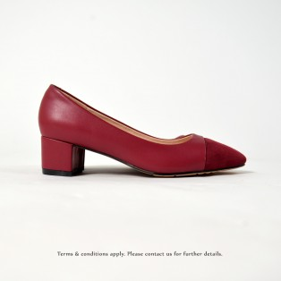 Square Toe   Leather Shoes    Formal Loafer   Office Lady Pumps   Red   RS6868B
