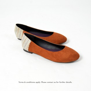 Round Toe | Japanese Woven Flat | Comfort & Lightweight | Handmade | Casual Shoes | Brown | RS6877B