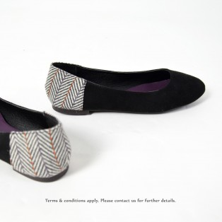 Round Toe | Japanese Woven Flat | Comfort & Lightweight | Handmade | Casual Shoes | Black | RS6877A