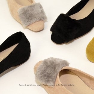 Slim fit feet! | Elegant fur flat shoes | Black| RS6878A
