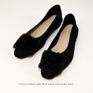 Slim fit feet! | Elegant fur flat shoes | Black| RS6878A