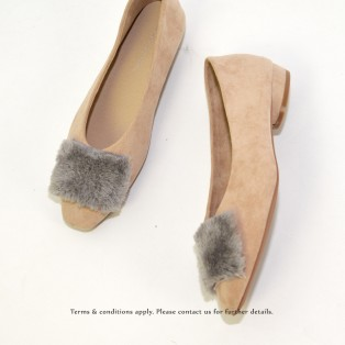 Slim fit feet! | Elegant fur flat shoes | Beige | RS6878B