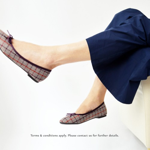Ribbon Ballerina | Checkered Pattern | Round Toe | Comfort Flats | Emely | ファブリック Fabric | RS6888A
