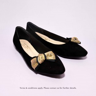 Gold Ribbon Flat Pumps | Streamline pointed design | Handmade | Black | RS6915A