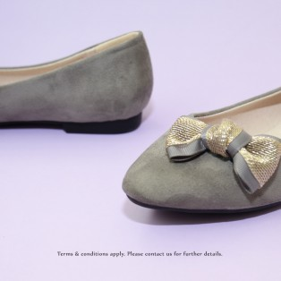 Gold Ribbon Flat Pumps | Streamline pointed design | Handmade | Grey | RS6915B