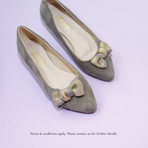 Gold Ribbon Flat Pumps | Streamline pointed design | Handmade | Grey | RS6915B