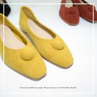 Slim fit feet! | Mustard | Elegant velvet flat shoes | RS6929B