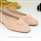 Slim fit feet! | Beige | Elegant velvet flat shoes | RS6929C