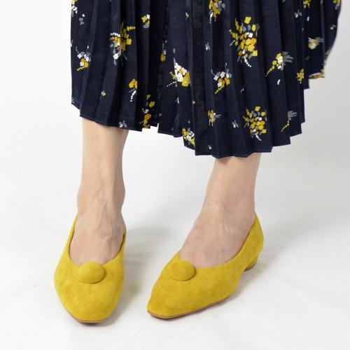 Slim fit feet! | Mustard | Elegant velvet flat shoes | RS6929B