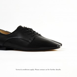 Tying rope bright leather casual shoes | Plain leather | Black | RS6973B