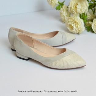 Hemp Toe Cap FLats | Two Tone Design | Handmade Shoes | Grey | Leather Insock | RS6999A