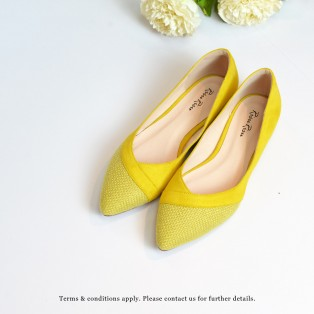 Hemp Toe Cap FLats | Two Tone Design | Handmade Shoes | Yellow | Leather Insock | RS6999C