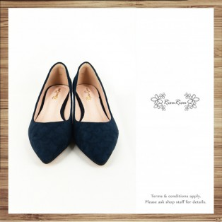 Risurisu Low heels / Handmade / Full leather / Embossed Navy / RS7025B