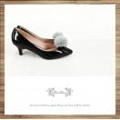 Risurisu Low heels / Handmade / Full leather / Colored fur ball  / Black / RS7133B