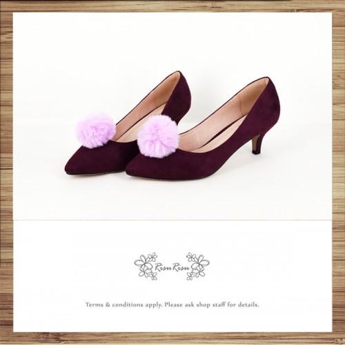 Risurisu Low heels / Handmade / Full leather / Colored fur ball  / Purple / RS7133C