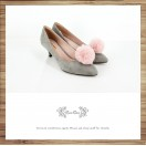 Risurisu Low heels / Handmade / Full leather / Colored fur ball  / Grey / RS7133A