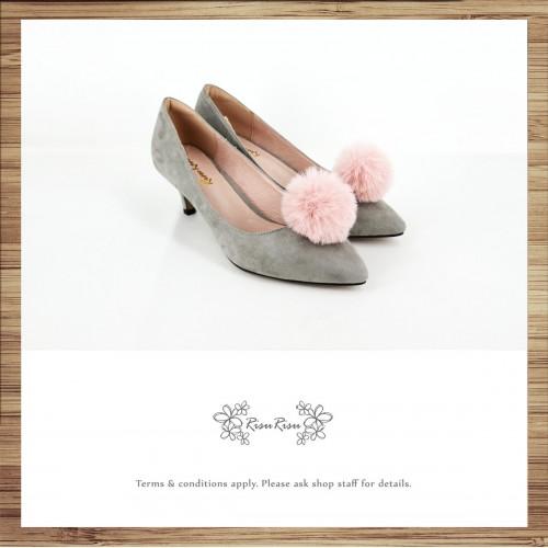Risurisu Low heels / Handmade / Full leather / Colored fur ball  / Grey / RS7133A