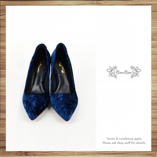 Classic Day / Retro pointed heels with deep sapphire velvet  / RS7237B
