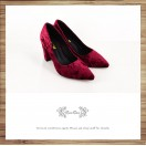 Classic Day / Retro pointed heels with deep wine red velvet  / RS7237A