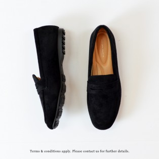 Nubuck Loafers |  Elegant Classic | Easy to Wear | Handmade Shoes | Black | RS7350C