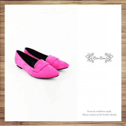Light Mousse Feet! Velvet Trimming Loafer / Women's shoes / Fuchsia / RS7588A
