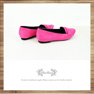 Light Mousse Feet! Velvet Trimming Loafer / Women's shoes / Fuchsia / RS7588A