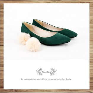 Two way Fur small ball shape flats shoe / RS7753D