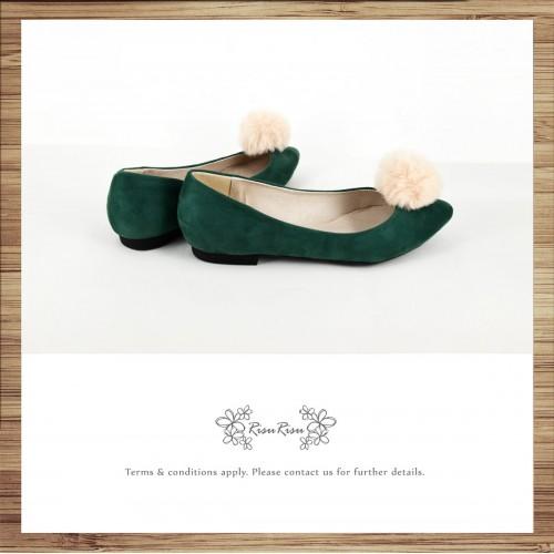 Two way Fur small ball shape flats shoe / RS7753D
