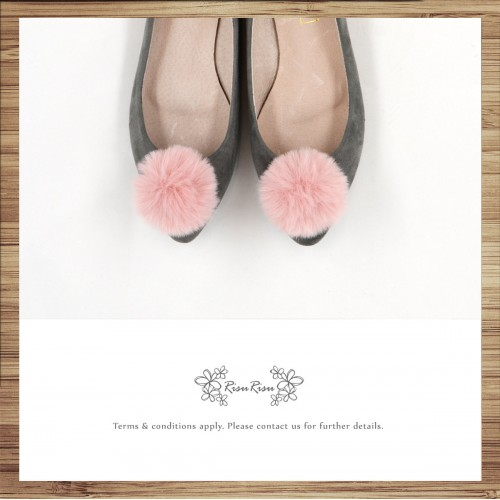 Two way Fur small ball shape flats shoe / RS7753B