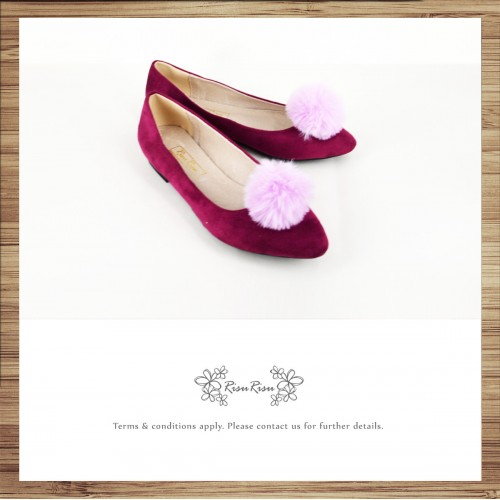 Two way Fur small ball shape flats shoe / RS7753C