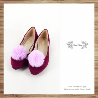 Two way Fur small ball shape flats shoe / RS7753C