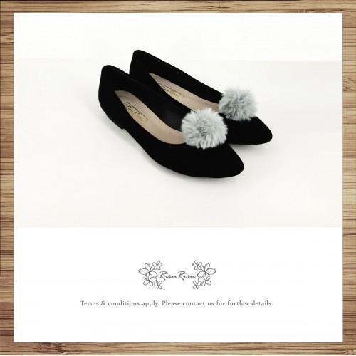 Two way Fur small ball shape flats shoe / RS7753A