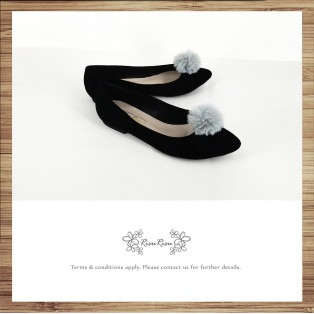 Two way Fur small ball shape flats shoe / RS7753A
