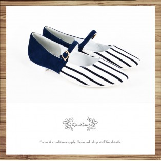 Mary Janes strips / Handmade custom / Love blue and white striped / Women's shoes / RS8337A