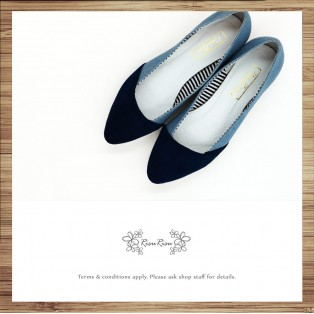 Part of the denim stitching / Water blue / Handmade custom / Women's shoes / RS8387A