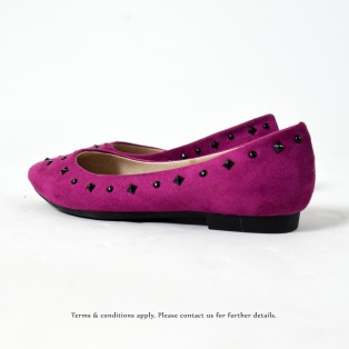 Studs Flat Pumps | Streamline pointed design | Fushia | RS8823A