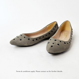 Studs Flat Pumps | Streamline pointed design | Grey | RS8823C