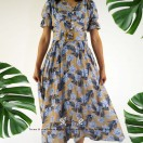 Floral Print One Piece With Belt / RT25718